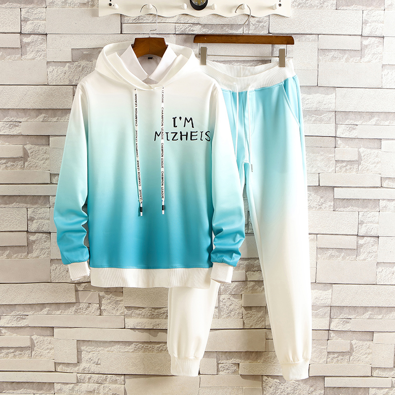Mens gradient multicolor long sleeve hooded large fashion loose pants spring and autumn leisure versatile sportswear