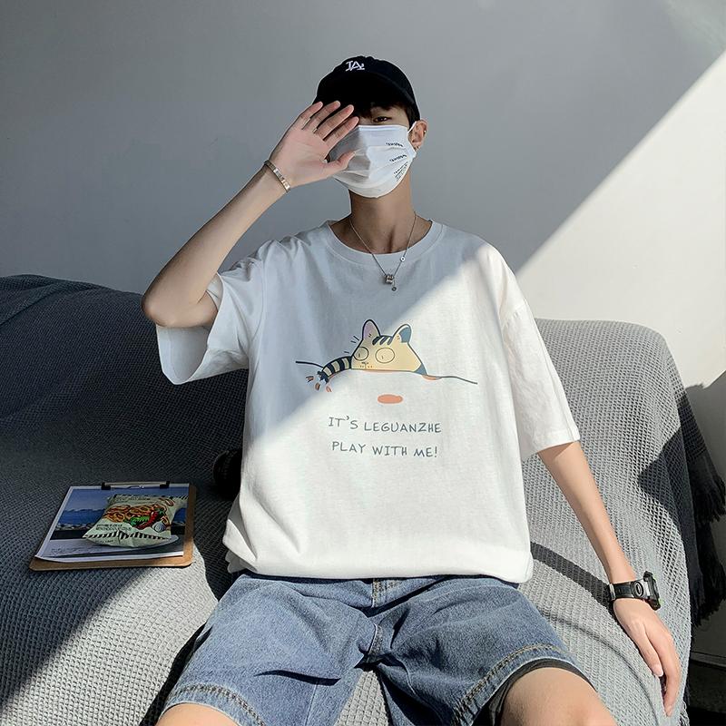 Summer 2021 new mens short sleeve T-shirt loose cotton print top ins trend round neck mens half sleeve