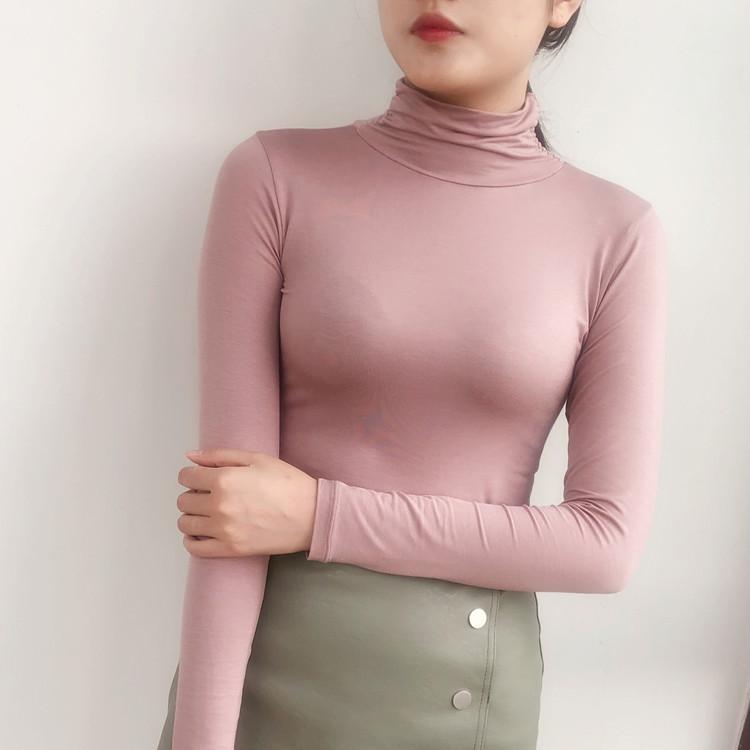 秋冬韩版修身大码薄款长袖t恤女士莫代尔高领打底衫内搭显瘦秋衣18.80元包邮
