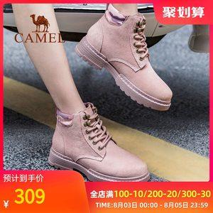 骆驼女鞋秋冬季马丁靴女英伦风潮流百搭时尚高帮粉色短靴休闲鞋子