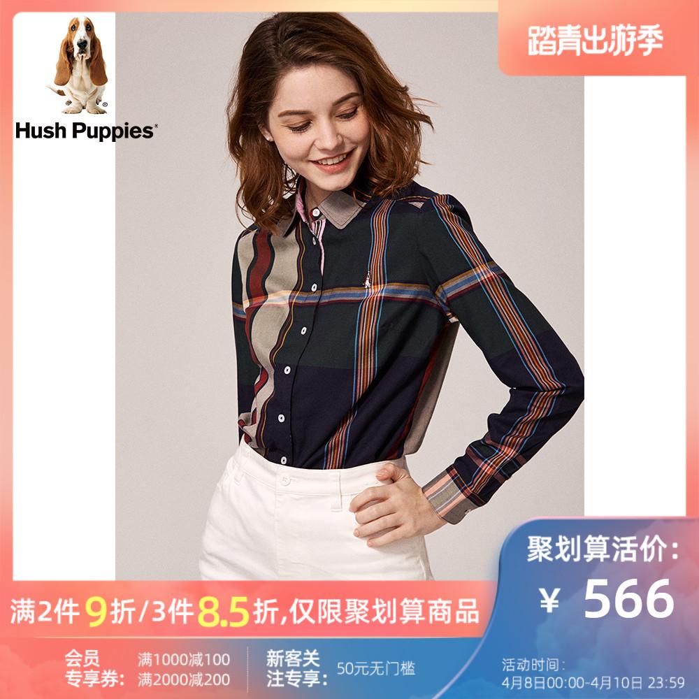 Hush Puppies暇步士女装2019秋新款长绒棉长袖格子衬衫 HA-19502D