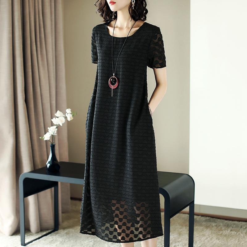 2019夏季新款女装通勤时尚气质遮肚短袖黑色大码中长款宽松连衣裙