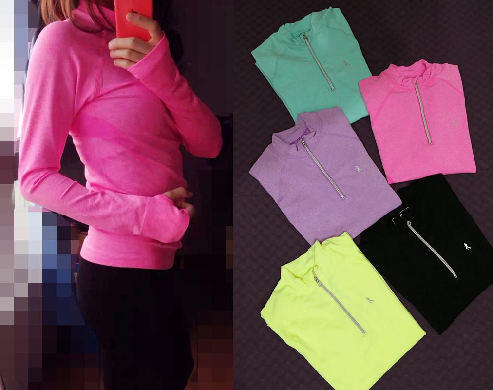 Специальные половинной длины рукава свитер молнии женщин скорости движения работает рубашки принимают Аэробика Фитнес наборы пальцев топы