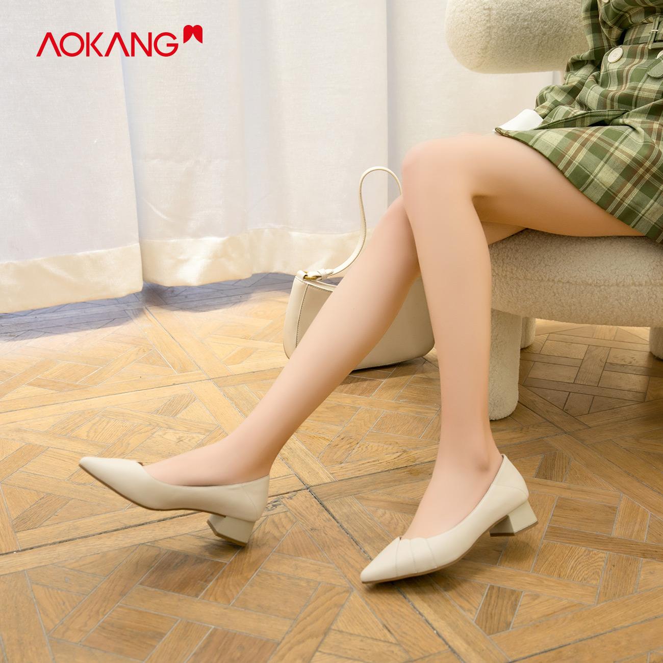 奥康女鞋2020新款牛皮革时尚韩版浅口尖头粗跟单鞋气质简约小皮鞋