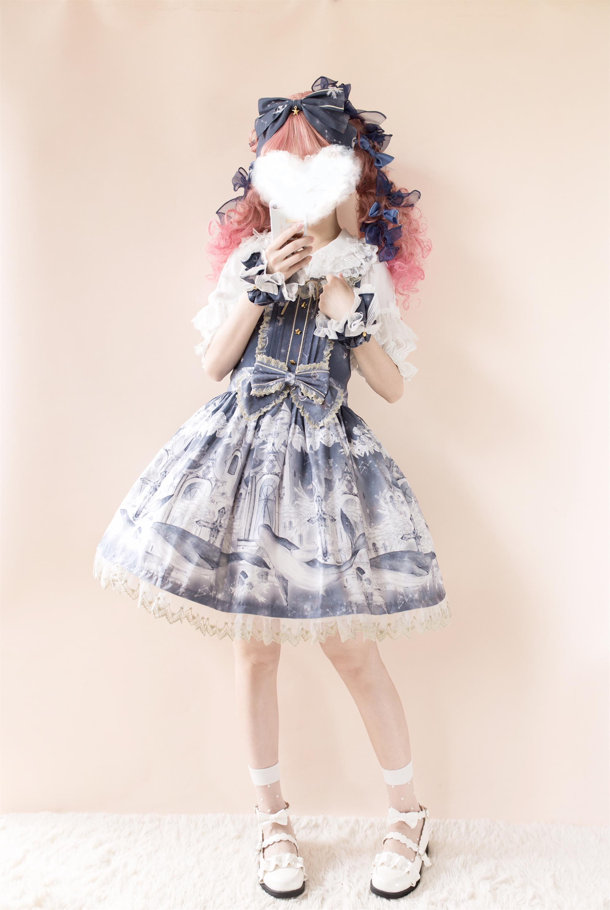 Star cat original Lolita Dress floating dream Whale Cross strap in stock (out of print)
