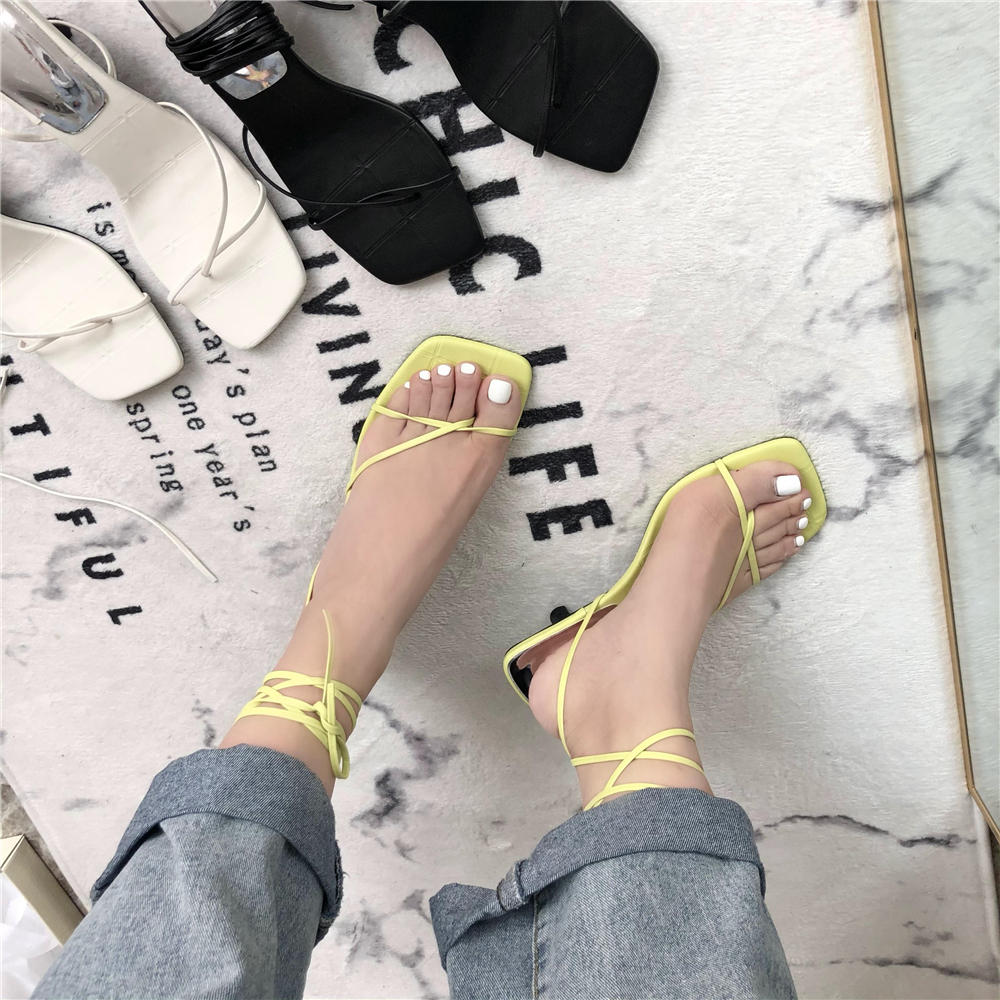 2021 summer new high heels womens fashion European and American style square head clip toe ankle strap thin heel Roman sandals women