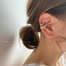 高级感耳夹无耳洞女多层圆圈珍珠锆石复古耳骨夹仙气森系超仙耳饰