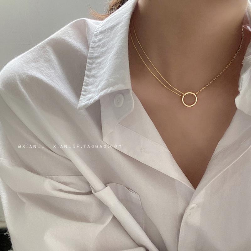簡約氣質圓圈鎖骨鏈2020年新款ins冷淡風時尚項鏈頸脖飾品配飾女