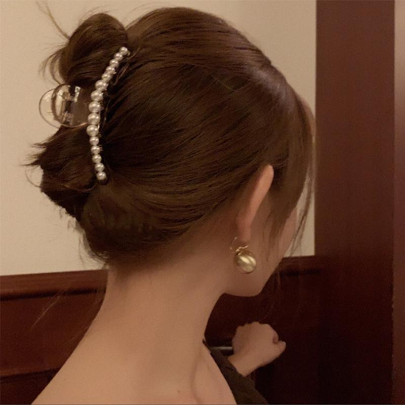 韩国优雅气质珍珠发夹后脑勺夹子头饰发抓夹鲨鱼夹网红2020年新款