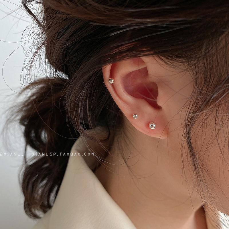 耳钉女纯银豆豆耳环简约小巧养耳洞防过敏耳饰s925耳棒睡觉不用摘