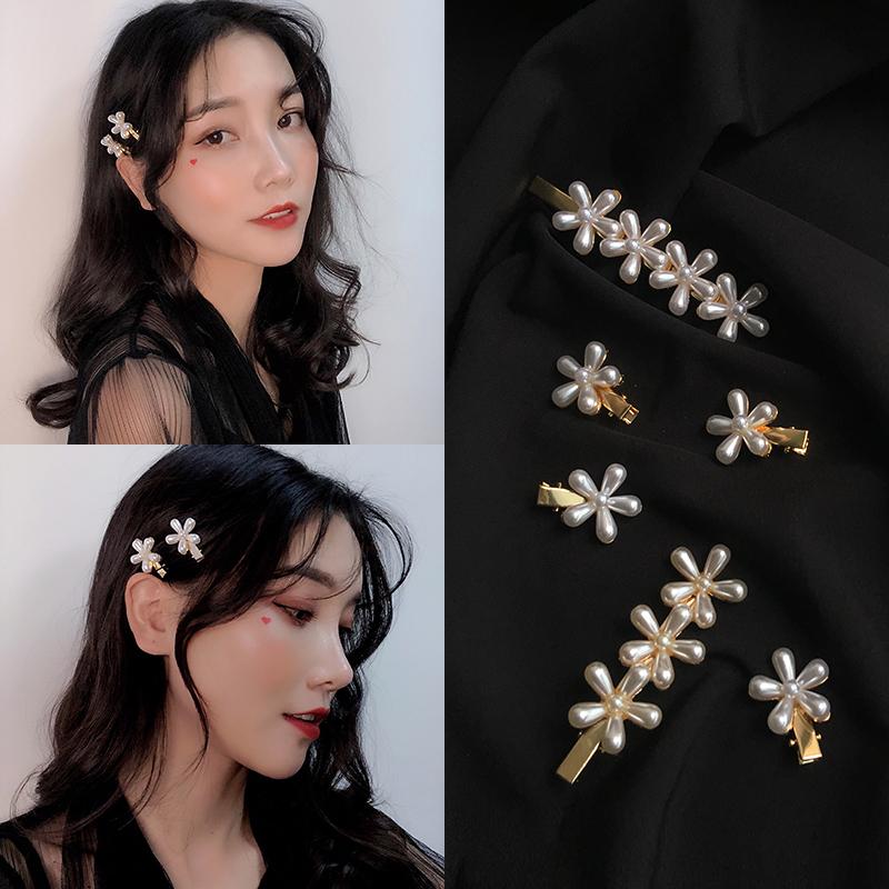 韩国珍珠小花发夹后脑勺森系仙美小鸭嘴夹可爱少女儿童夹子头饰12.90元包邮