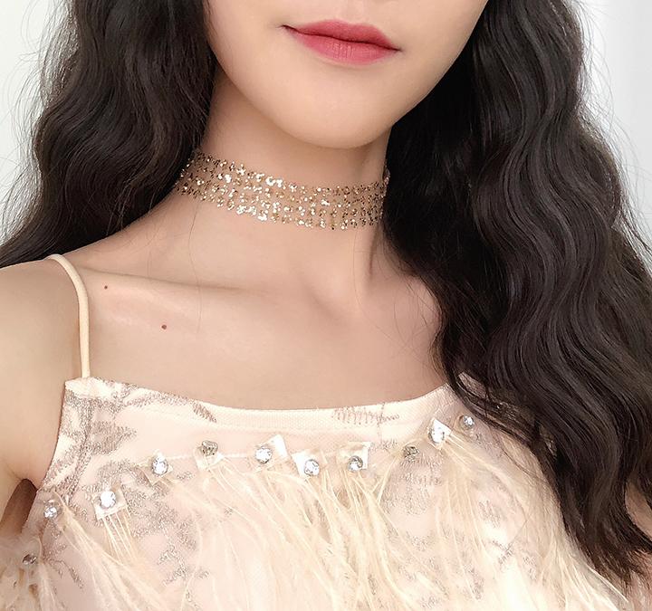 10-19新券韩国复古锁骨链女短款网红蕾丝颈带