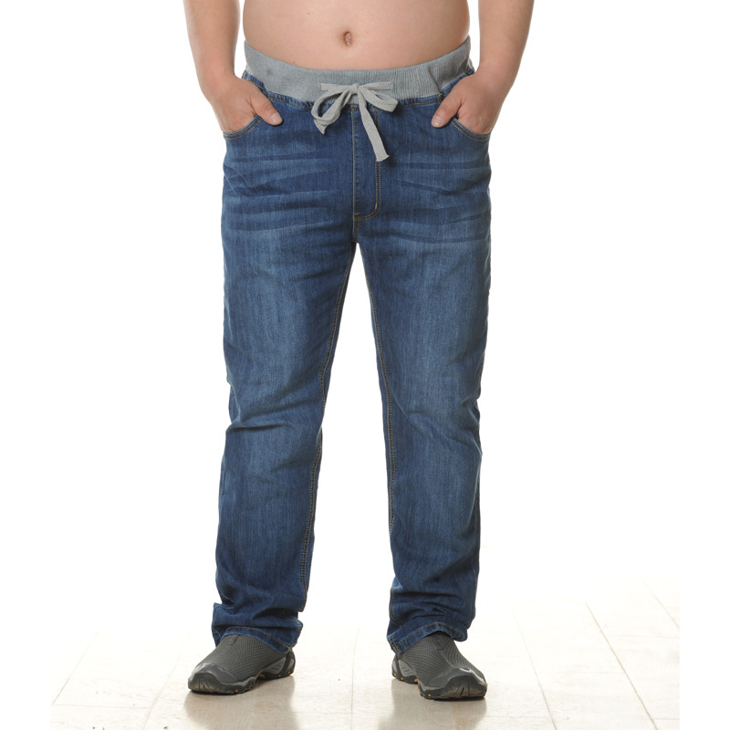 男士新款时尚松紧腰男式加肥加大高弹力牛仔裤高腰大码宽松长裤
