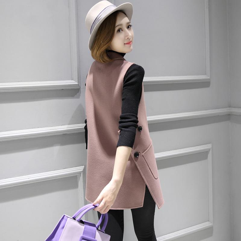 双面羊绒马甲背心女中长款大衣2017新款韩国翻领修身羊毛毛呢外套