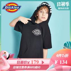 Dickies童2019夏新嘻哈滑板连帽套头短袖T恤中大童宽松版连帽衫
