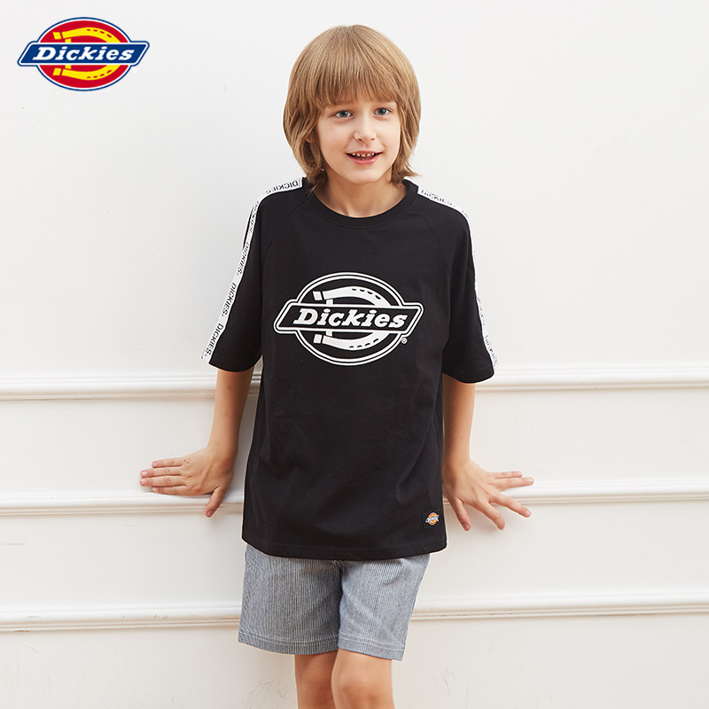 Dickies Kids Summer Girls Boys Fashion Ribbon Short Sleeve T-shirt in Boys'Loose Printed Pullovers