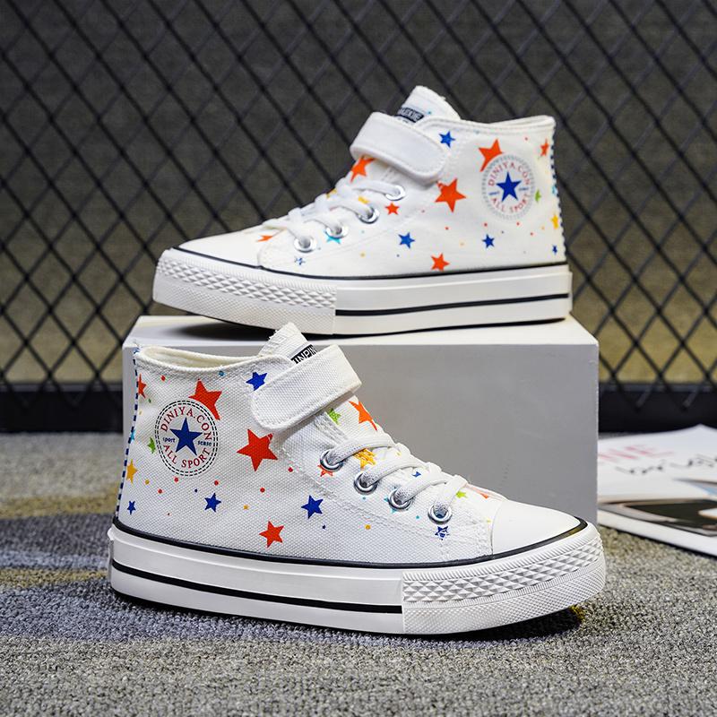 儿童高帮帆布鞋2021春夏新款小白鞋一脚蹬涂鸦男童鞋板鞋女童布鞋