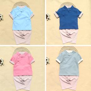 夏季新款汉服男孩儿童女宝宝中式传统礼服民国中国风棉麻短袖套装