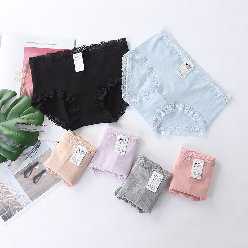 Womens traceless low waist underwear young female student cotton Japanese solid color simple lace triangular underpants