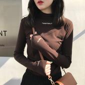 女秋冬套头字母印花修身 纯色长袖 t恤女 2019韩版 半高领上衣打底衫