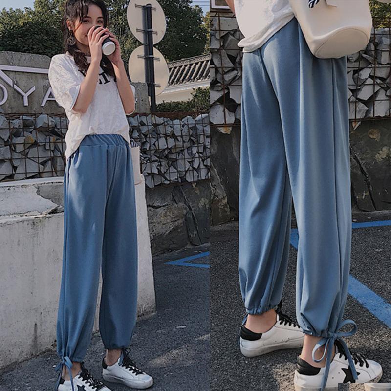2019春季高端气质韩版女装九分裤休闲宽松灯笼裤高腰休闲裤