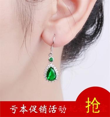 925 sterling silver emerald drop earrings diamond-plated 18K gold green tourmaline earrings Korean temperament female new style