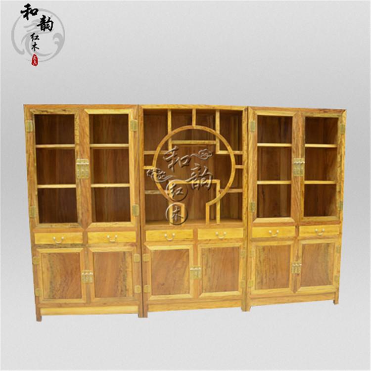 金丝楠木素面书柜 明清古典储物柜越南红木 实木住宅家具