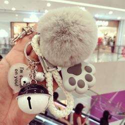 韩国创意可爱毛绒钥匙扣女 高档獭兔毛球汽车钥匙链包包挂件女士