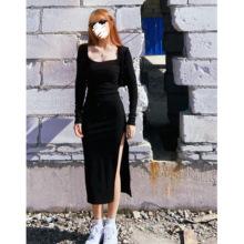 超显身材辣妹显瘦紧身开叉针织连衣裙欧美长裙小黑裙方领潮自制