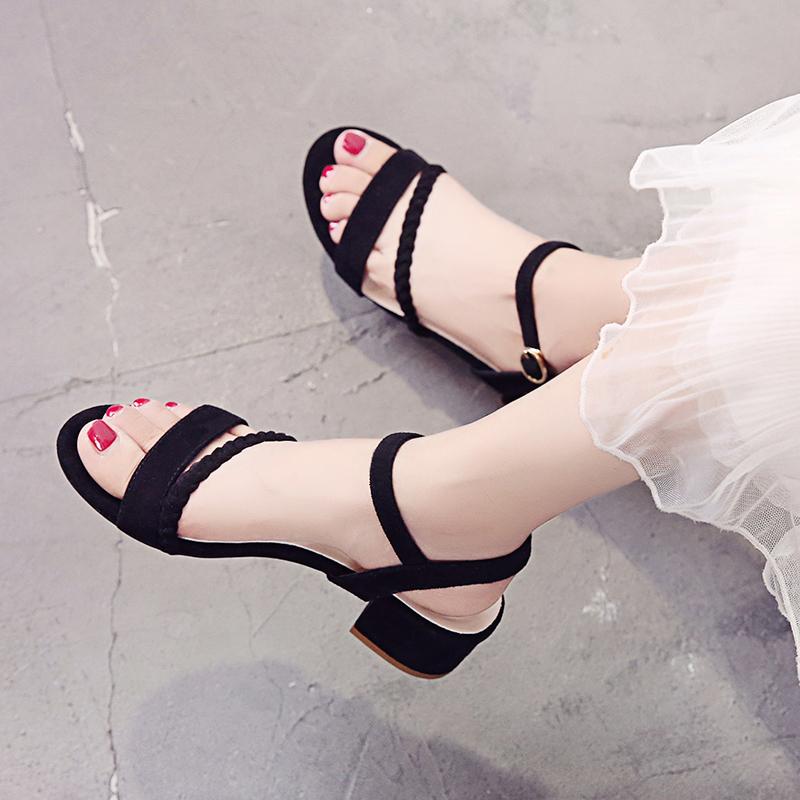 低跟3cm凉鞋女夏露趾一字扣少女小清新中粗跟高跟鞋学生网红女鞋