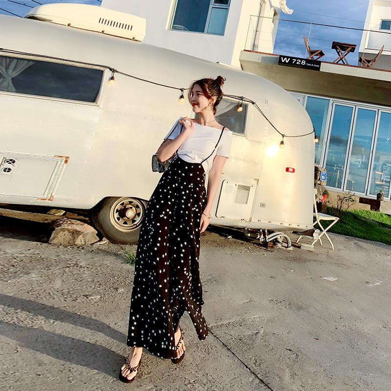 限5000张券气质女套装2019新款海边度假波西米亚T恤阔腿裤时尚两件套连体裤