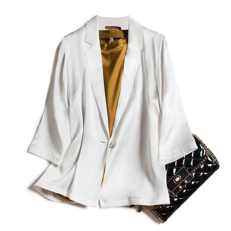 Silk satin Blazer mulberry silk white suit female top Korean British style suit coat summer 2020
