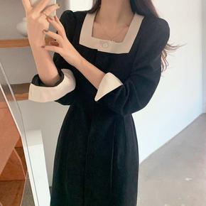 韩国chic法式优雅显瘦方领撞色单排扣收腰系带中长款连衣裙小黑裙