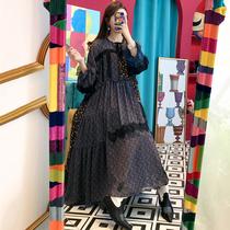 韩国chic洋气时髦圆领系带设计感碎花拼接宽松大摆型长款连衣裙女