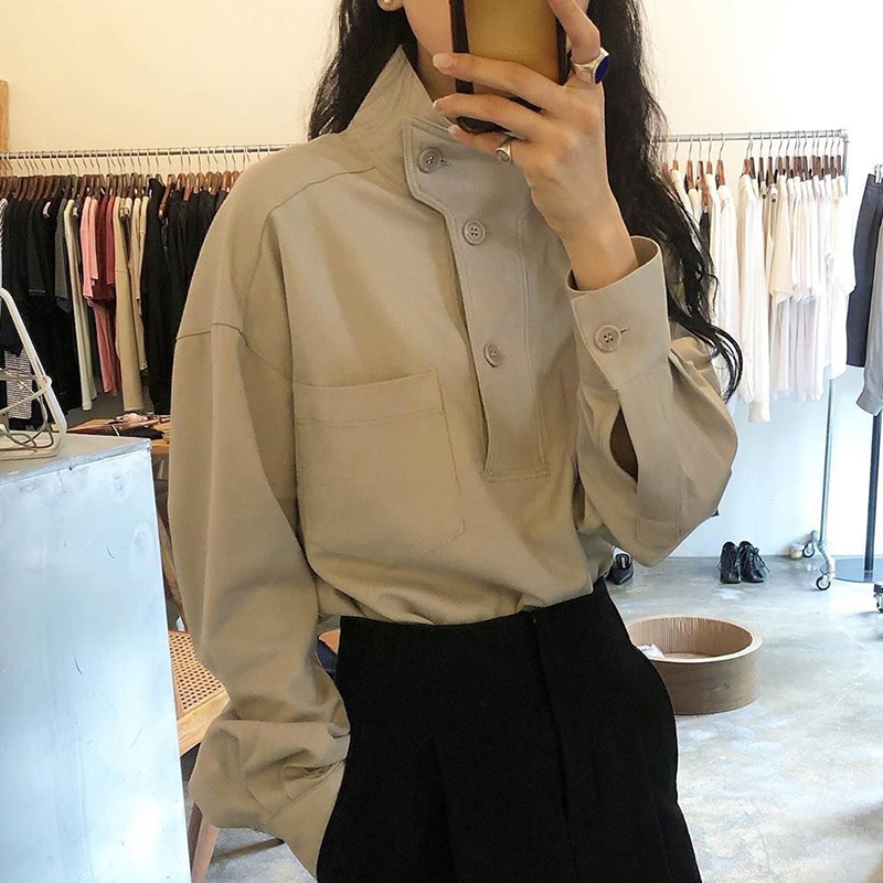 韩国chic春季小众设计款立领斜扣宽松纯色休闲百搭长袖衬衫上衣女