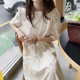 韩国chic夏季法式复古重工镂空提花圆领宽松过膝长款短袖连衣裙女