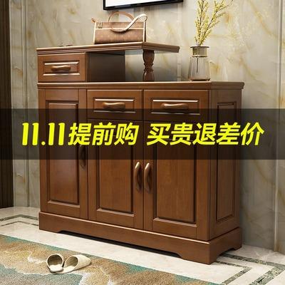 Modern Chinese solid wood storage shoe cabinet household appliances living room simple storage cabinet balcony bedroom two-door three-door shoe cabinet