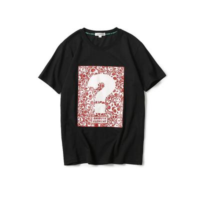 18夏素简成衣TS1806美式休闲2色创意骷髅问号印花短袖T恤P45