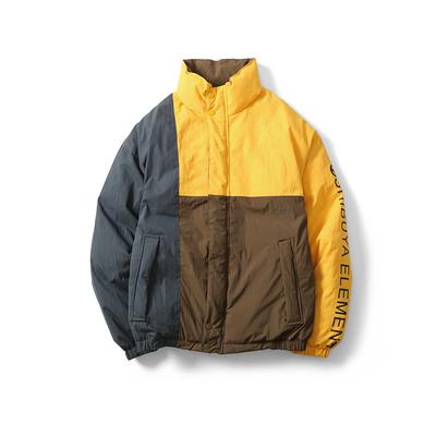 17冬素简成衣OW1730美式拼色拼接棉衣P185最低售价225