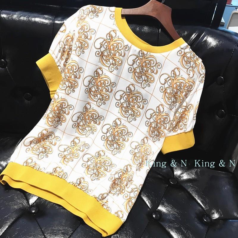 King&N真丝上衣女短袖20118春夏女装新款印花气质薄短款桑蚕丝t恤