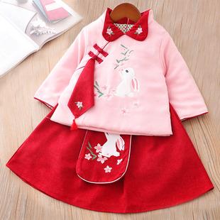 女童漢服秋冬裝中國風兒童古裝唐裝女孩格格服拜年服小童裝過年服