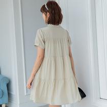 孕妇连衣裙纯色休闲中长款中长裙时尚普通夏季短袖衬衫