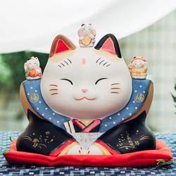 日本药师窑七福神招财猫中号手工陶瓷摆件生日开业乔迁结婚礼物