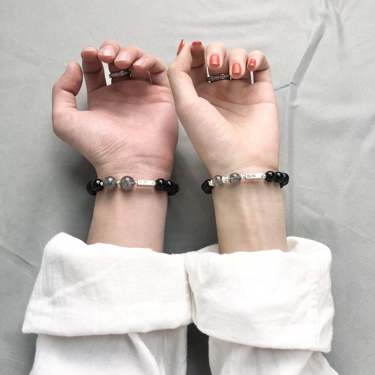 定制刻字黑曜石情侣手链女男士一对潮水晶纯银手串手饰品纪念礼物图片