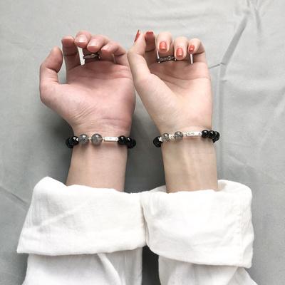 定制刻字黑曜石水晶情侣手链女男士一对纯银手饰纪念礼物定情信物