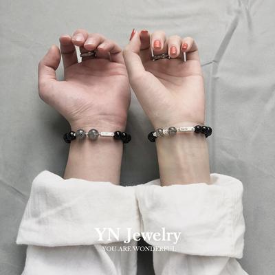 定制刻字黑曜石水晶情侣手链男女一对情人节纪念小礼物纯银手饰品
