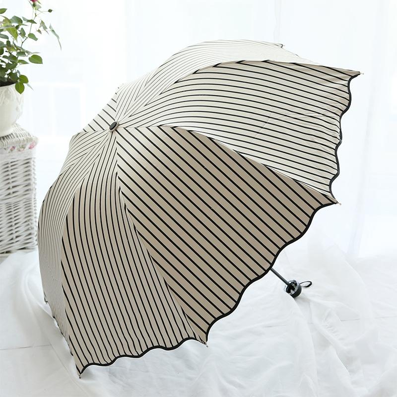 条纹拱形折叠三折公主韩国小清新防晒伞全遮光黑胶遮阳伞雨伞情侣