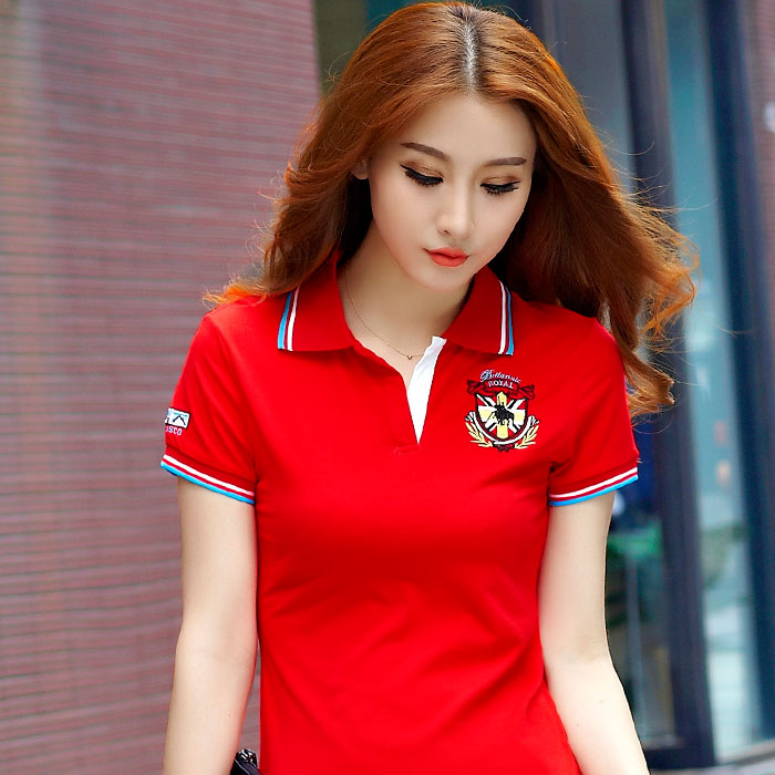 2019夏服の新型は半袖Tシャツ夏韓国版の襟があります。ポロシャツ女史のゆったりした運動上着tシャツです。