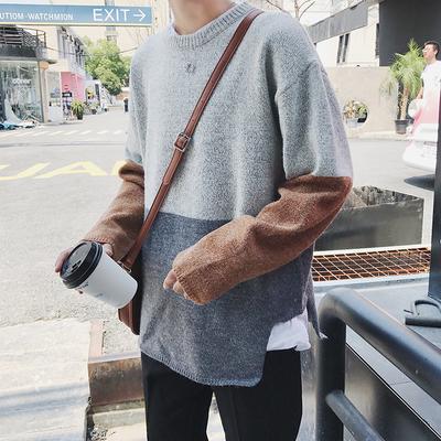 港风秋冬学生毛衣宽松个性撞色圆领套头毛衣男加厚线衣浅灰M04P65