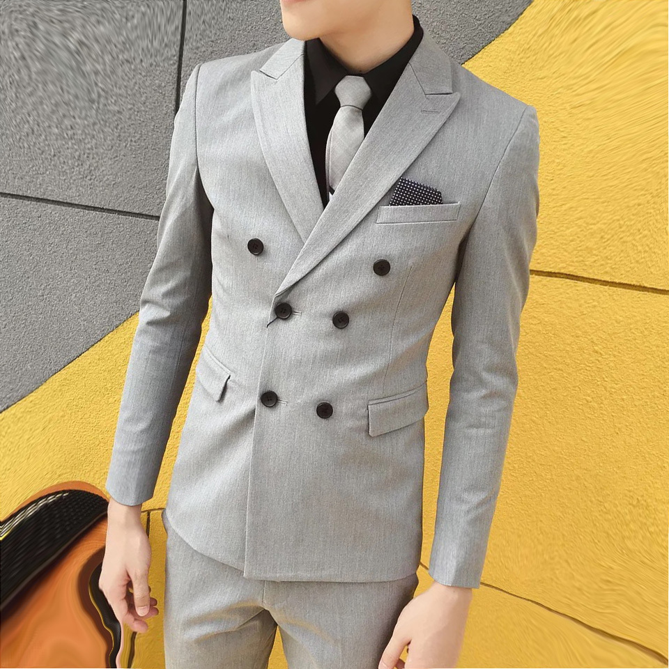 2020 new slim double breasted Blazer fashion Korean hairstylist British mens slim suit